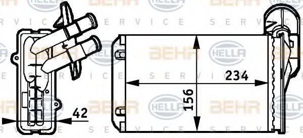 Теплообменник, отопление салона BEHR HELLA SERVICE 8FH 351 311-041
