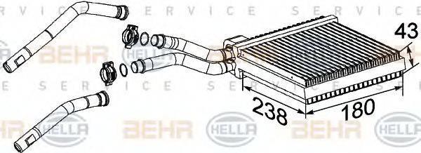 BEHR HELLA SERVICE 8FH351315631 Теплообменник, отопление салона