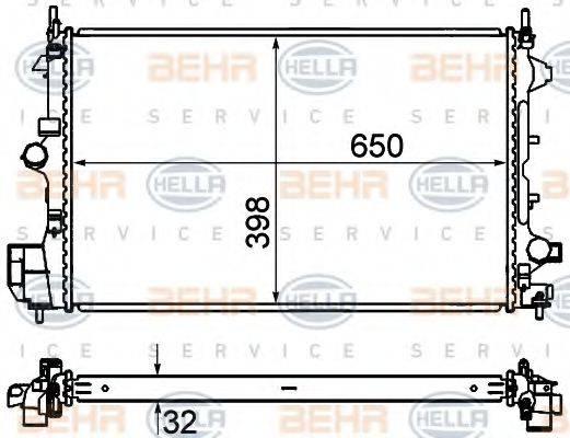 Радиатор, охлаждение двигателя BEHR HELLA SERVICE 8MK 376 735-061