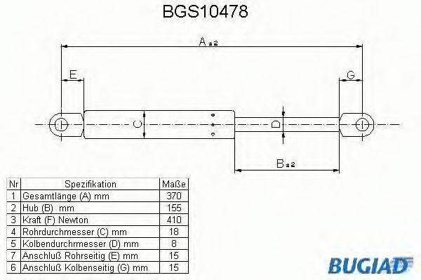 BUGIAD BGS10478 Газовая пружина, крышка багажник