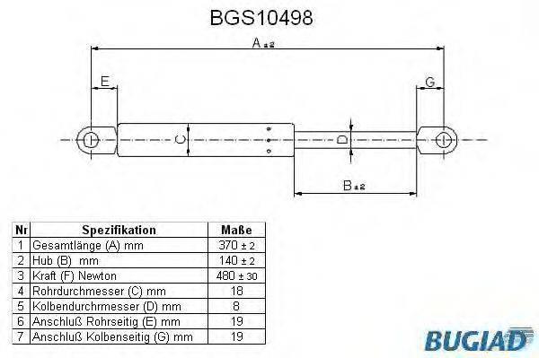 BUGIAD BGS10498 Газовая пружина, крышка багажник