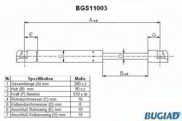 BUGIAD BGS11003 Газовая пружина, крышка багажник