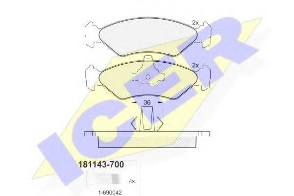 ICER 181143700 Комплект тормозных колодок, дисковый тормоз