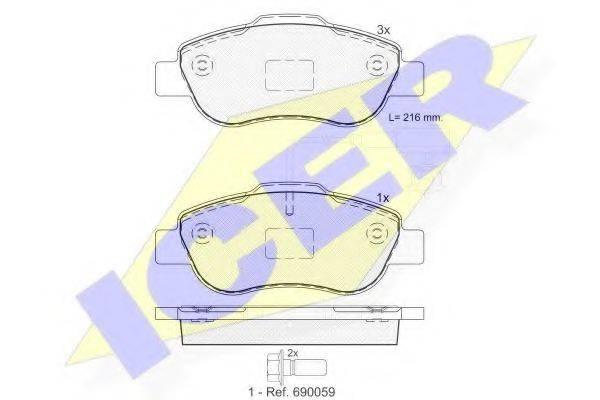 ICER 181843 Комплект тормозных колодок, дисковый тормоз