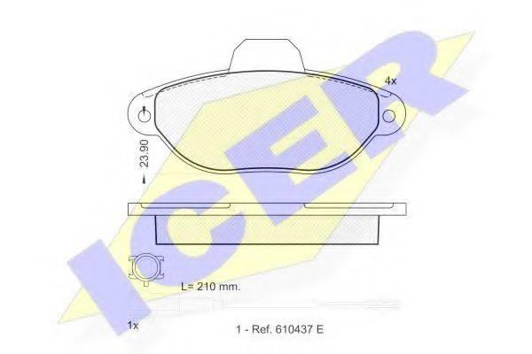 ICER 181844 Комплект тормозных колодок, дисковый тормоз