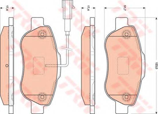 TRW GDB1746 Комплект тормозных колодок, дисковый тормоз