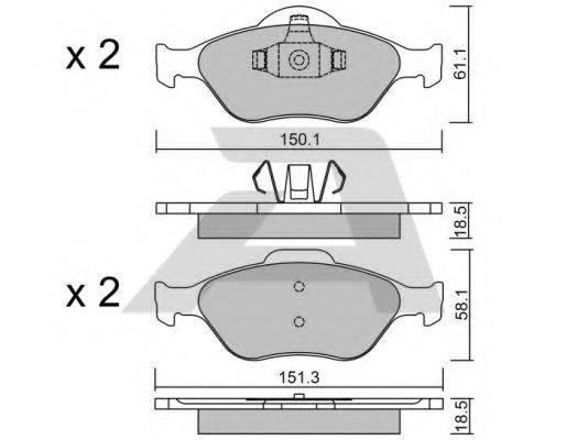 AISIN BPFO1008 Комплект тормозных колодок, дисковый тормоз