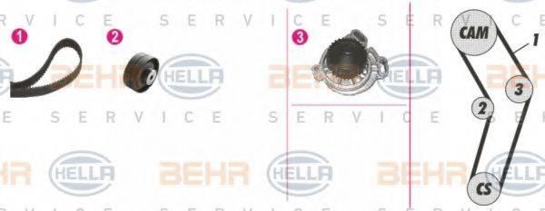 HELLA 8MP376807851 Водяной насос + комплект зубчатого ремня