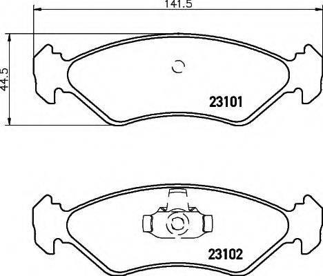HELLA 8DB355008051 Комплект тормозных колодок, дисковый тормоз