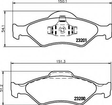 HELLA 8DB355008891 Комплект тормозных колодок, дисковый тормоз