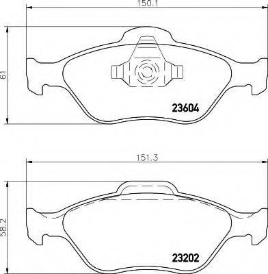 HELLA 8DB355008901 Комплект тормозных колодок, дисковый тормоз