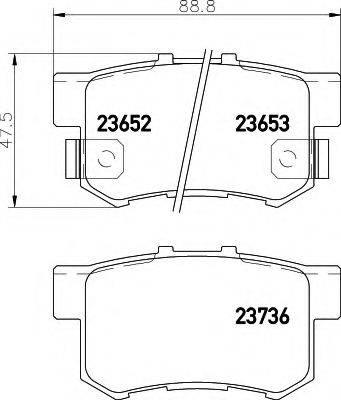 HELLA 8DB355009581 Комплект тормозных колодок, дисковый тормоз