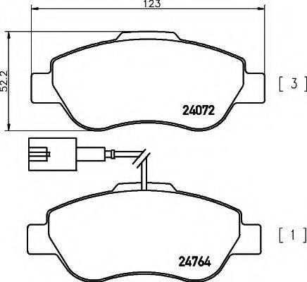 HELLA 8DB355014471 Комплект тормозных колодок, дисковый тормоз