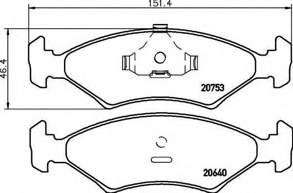 HELLA 8DB355017361 Комплект тормозных колодок, дисковый тормоз