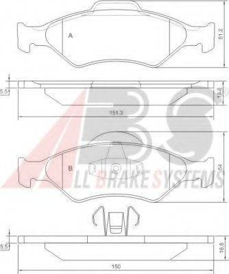 A.B.S. 37196OE Комплект тормозных колодок, дисковый тормоз