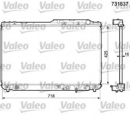 Радиатор, охлаждение двигателя VALEO 731837