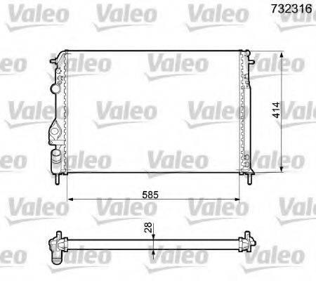 Радиатор, охлаждение двигателя VALEO 732316