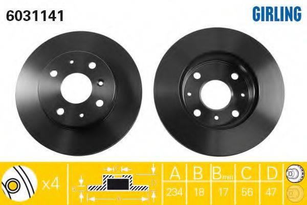 GIRLING 6031141 Тормозной диск