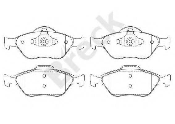 BRECK 232020070200 Комплект тормозных колодок, дисковый тормоз