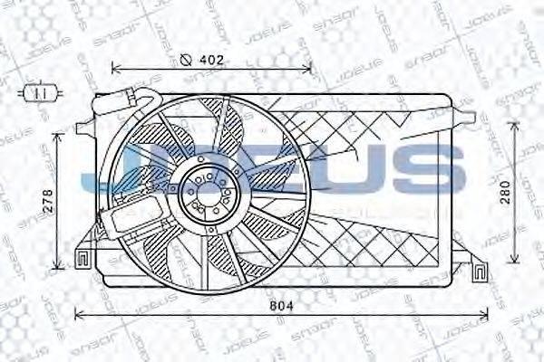JDEUS EV121140 Вентилятор, охлаждение двигателя