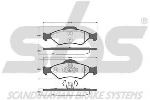 SBS 1501222556 Комплект тормозных колодок, дисковый тормоз