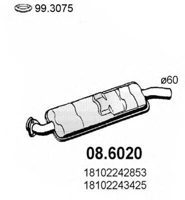 ASSO 086020 Средний глушитель выхлопных газов