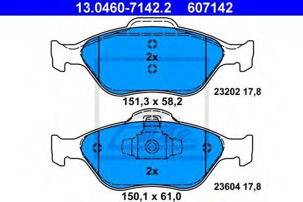 ATE 13046071422 Комплект тормозных колодок, дисковый тормоз