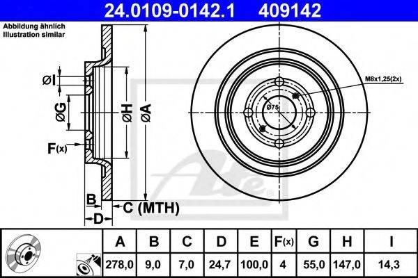 ATE 24010901421 Тормозной диск