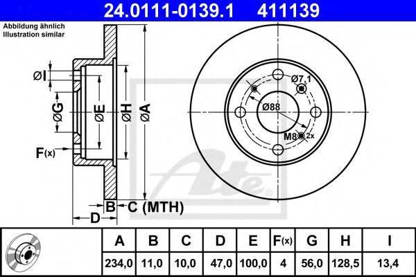 ATE 24011101391 Тормозной диск