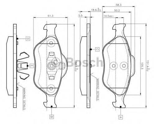 BOSCH 0986TB2812 Комплект тормозных колодок, дисковый тормоз