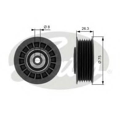 GATES T38092 Паразитный / ведущий ролик, поликлиновой ремень