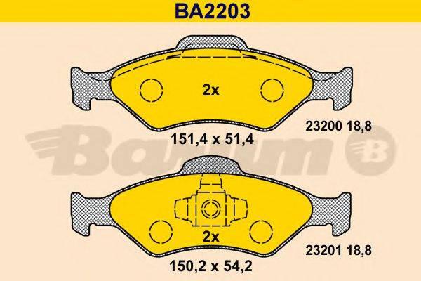 BARUM BA2203 Комплект тормозных колодок, дисковый тормоз