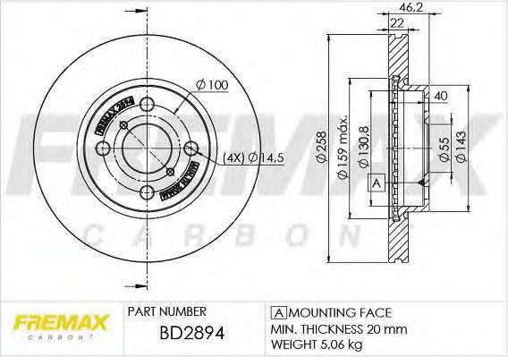 FREMAX BD2894 Тормозной диск