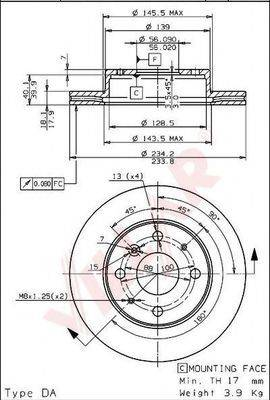 VILLAR 6281586 Тормозной диск