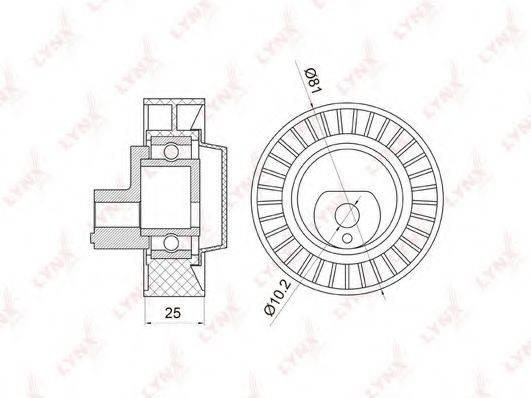 LYNXAUTO PB7003 Паразитный / ведущий ролик, поликлиновой ремень