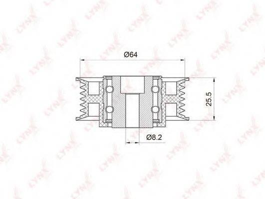 LYNXAUTO PB7016 Паразитный / ведущий ролик, поликлиновой ремень
