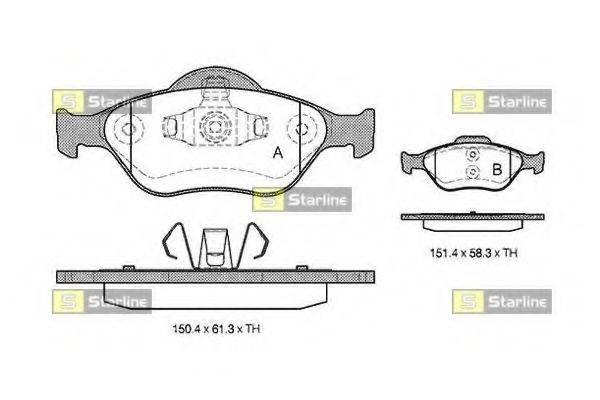 STARLINE BDS306 Комплект тормозных колодок, дисковый тормоз