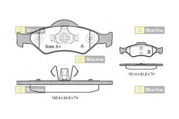 STARLINE BDS824P Комплект тормозных колодок, дисковый тормоз