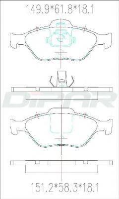 DITAS DFB2419 Комплект тормозных колодок, дисковый тормоз