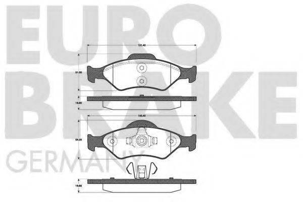 EUROBRAKE 5502222556 Комплект тормозных колодок, дисковый тормоз