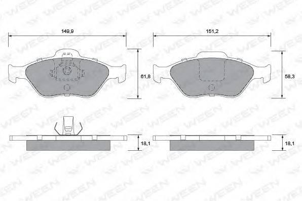 WEEN 1511284 Комплект тормозных колодок, дисковый тормоз