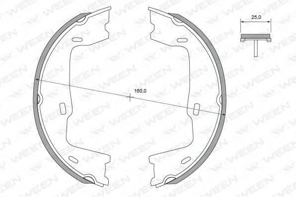 WEEN 1522306 Комплект тормозных колодок, стояночная тормозная система
