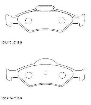 ASIMCO KD6516 Комплект тормозных колодок, дисковый тормоз