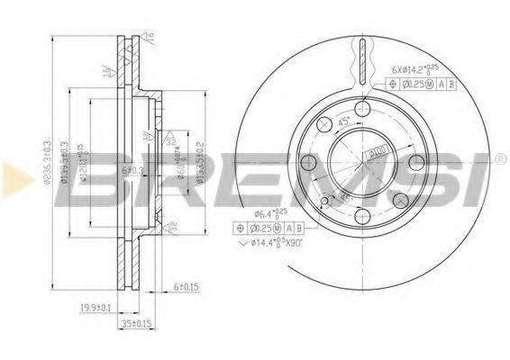 BREMSI DBA151V Тормозной диск