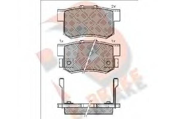 R BRAKE RB1187 Комплект тормозных колодок, дисковый тормоз