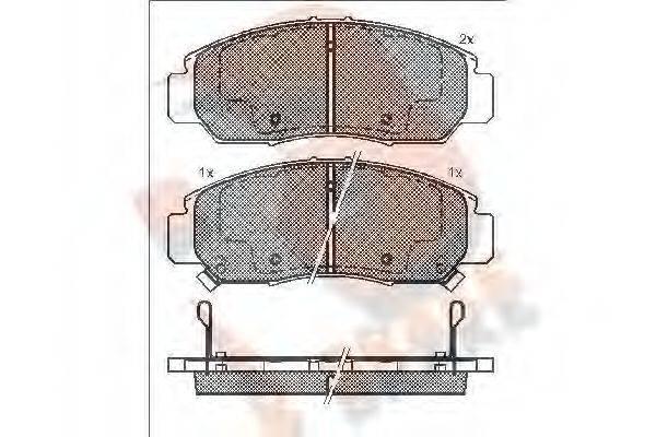 R BRAKE RB1543 Комплект тормозных колодок, дисковый тормоз