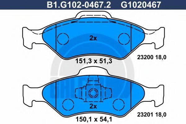GALFER B1G10204672 Комплект тормозных колодок, дисковый тормоз
