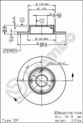 BREMBO 08587610 Тормозной диск