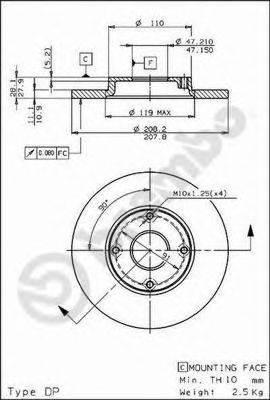 BREMBO 08587710 Тормозной диск