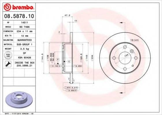 BREMBO 08587810 Тормозной диск